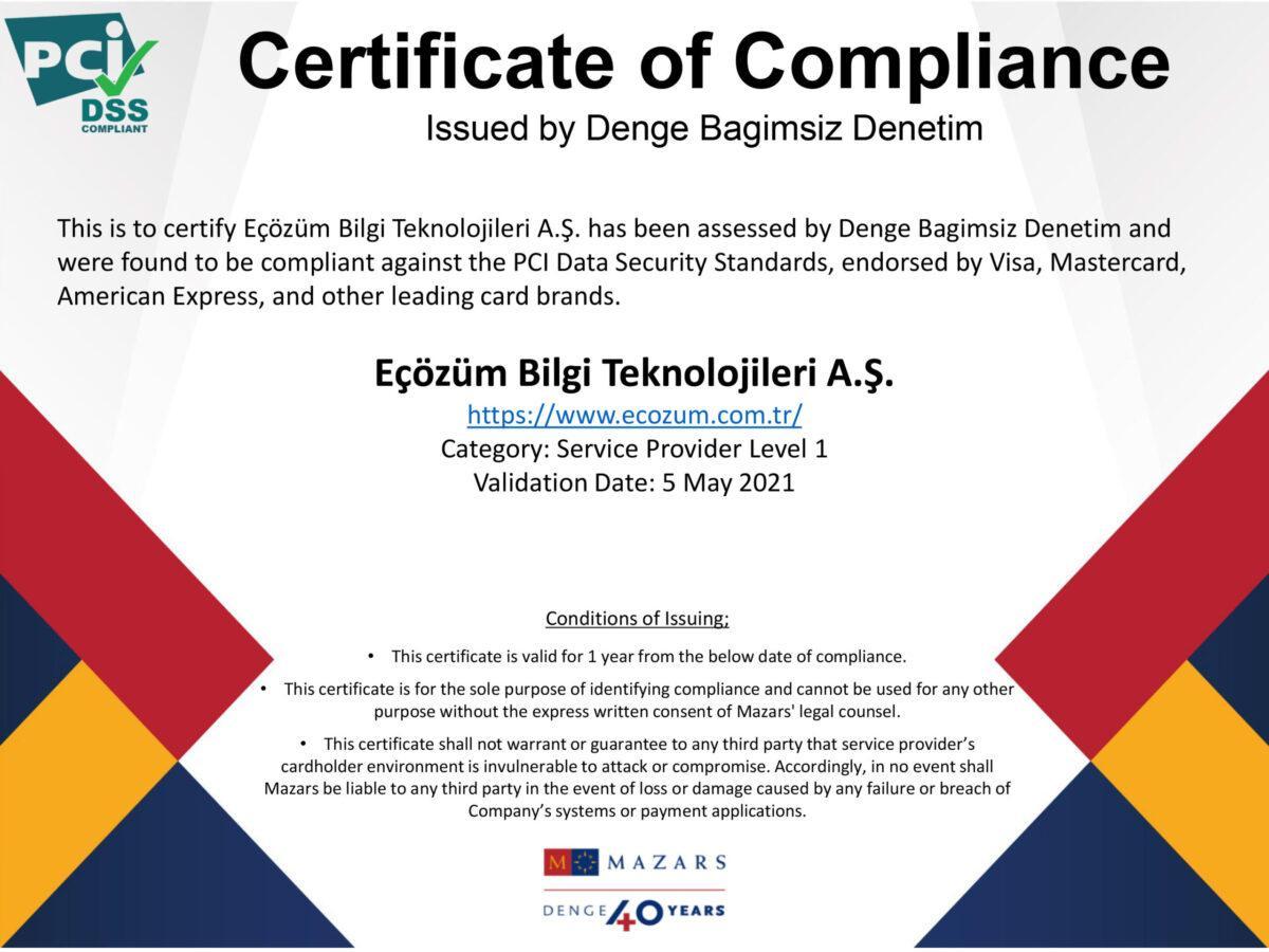 Eçozüm PCIDSS Certificate